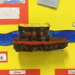 The canal boat designed by Dominic and Aidan
